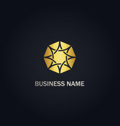 diamond abstract shine gold logo vector image