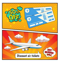 Discount air tickets comic style banners vector