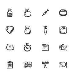 doodle fitness icons set vector image
