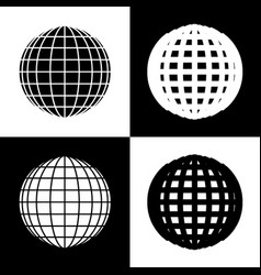 earth globe sign black and white icons vector image