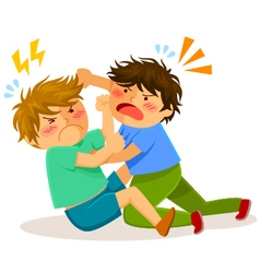 Fighting boys vector