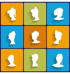 Flat Icons Set of Female Silhouettes vector