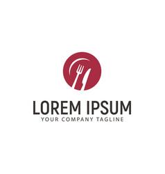 Fork knife plate logo design concept template vector