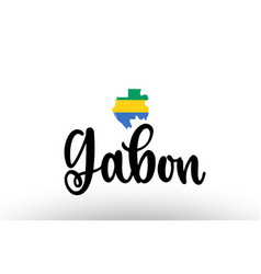 Gabon country big text with flag inside map vector