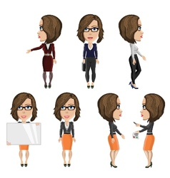Girl with glasses at work vector image
