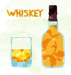 Glass scotch whiskey vector