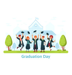 graduation day happy students celebrating and vector image