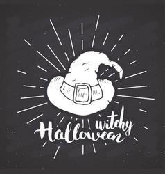 halloween greeting card vintage label hand drawn vector image
