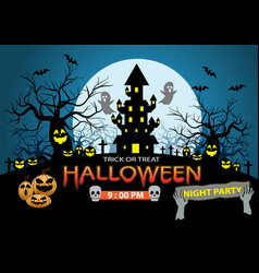 Happy halloween night party holiday celebration vector