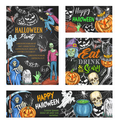 Happy halloween sketch banner on chalkboard vector