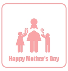 Happy Mothers Day Mom and Children Stick Figure vector