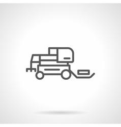 Hay tractor black line icon vector image