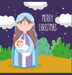 Holy mary carrying bajesus manger nativity vector