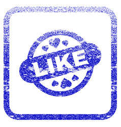 Like stamp seal framed textured icon vector