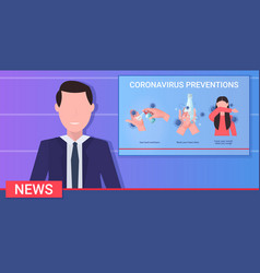 man tv reporter presenting news about protective vector image