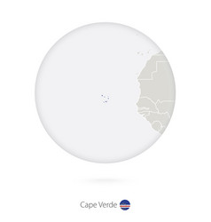 Map cape verde and national flag in a circle vector