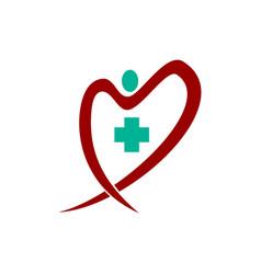 Medical health clinic heart logo template vector