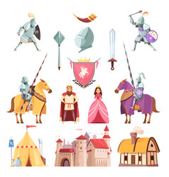 Medieval royal heraldry cartoon set vector