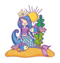 Mermaid swimming undersea vector
