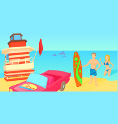Miami travel horizontal banner cartoon style vector