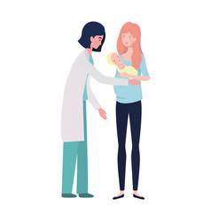Mother with baand doctor design vector