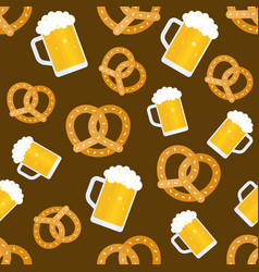 oktoberfest seamless pattern beer jug and pretzel vector image