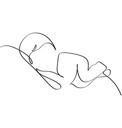 One line drawing a bacute sleeping baby vector