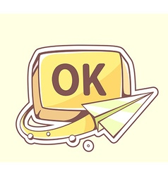 Paper plane flying around yellow button o vector