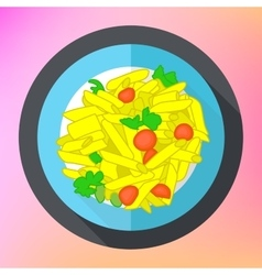 Pasta penne flat icon vector