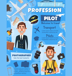 Photographer journalist and aviation pilot vector