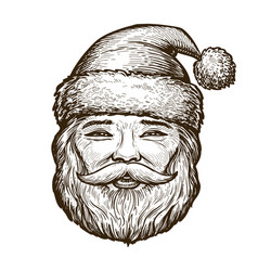 portrait of happy santa claus christmas sketch vector image