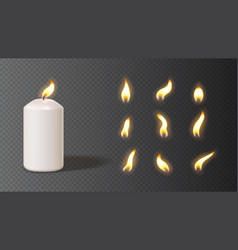 Realistic white candle with set flames vector