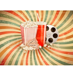 Retro background with Popcorn and a drink vector
