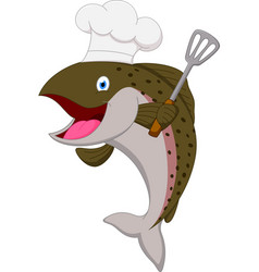 Salmon chef fish cartoon vector