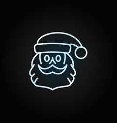 santa claus face with beard and moustache linear vector image
