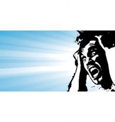 Screaming man grunge glowing banner vector