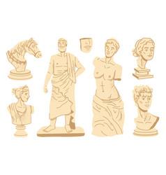 sculptures ancient greece statues body portraits vector image