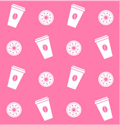 seamless pattern coffee and donuts on pink vector image