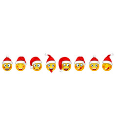 set christmas happy cheerful emoticons in santa vector image