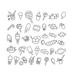 set element birthday desert doodle hand drawn vector image