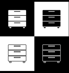 set furniture nightstand icons isolated on black vector image