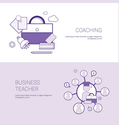 Set of coaching and business teacher web banners vector