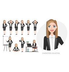 Set of emotions and poses for business womanyoung vector
