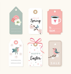 set of spring easter gift tags and labels with vector image