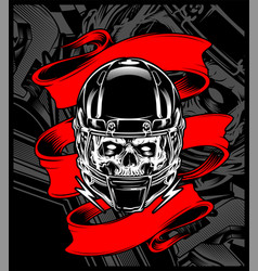 Skull wearing a helmet with banner vector