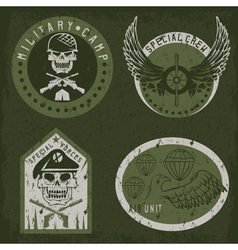 Special unit military grunge emblem set design vector