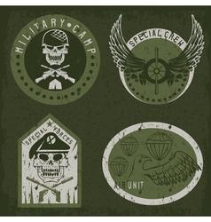 special unit military grunge emblem set design vector image