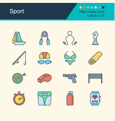 sport icons filled outline design collection 28 vector image