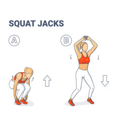 squat jacks home workout female exercise guide vector image