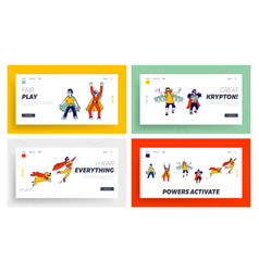 Superhero kids characters playing and having fun vector